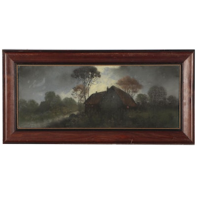 Nocturne Landscape Pastel Drawing, Late 19th to Early 20th Century