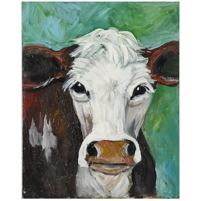 "Barbara Higgins Acrylic Painting ""Lovely Cow"""