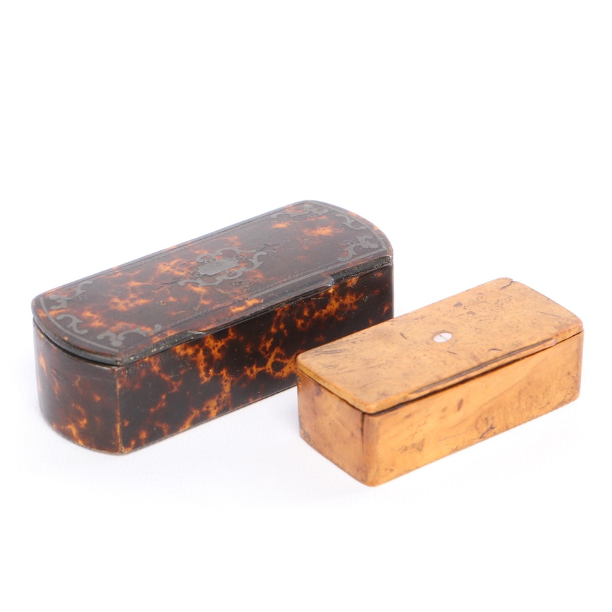 Inlaid Wooden and Faux Tortoise Shell Snuff Boxes
