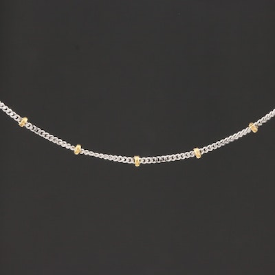 14K White and Yellow Gold Bead Station Necklace