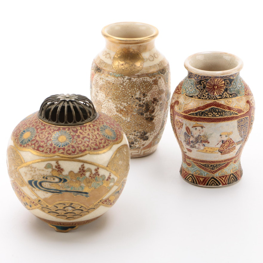 Japanese Porcelain Satsuma Incense Burner and Vases