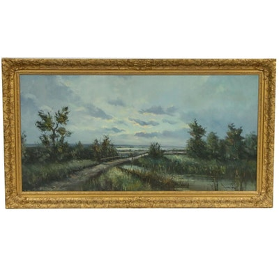 N. Noran Marsh Landscape Oil Painting, Early to Mid 20th Century