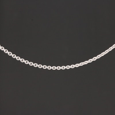 18K White Gold Cable Chain Necklace