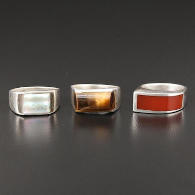 Sterling Silver Ring Selection Featuring Tiger's Eye, Abalone, and Sard