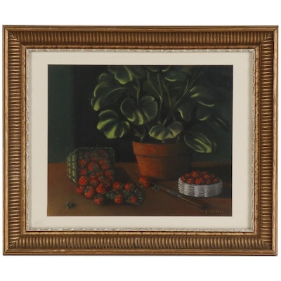 Pastel Still Life Drawing of Potted Plant and Strawberries