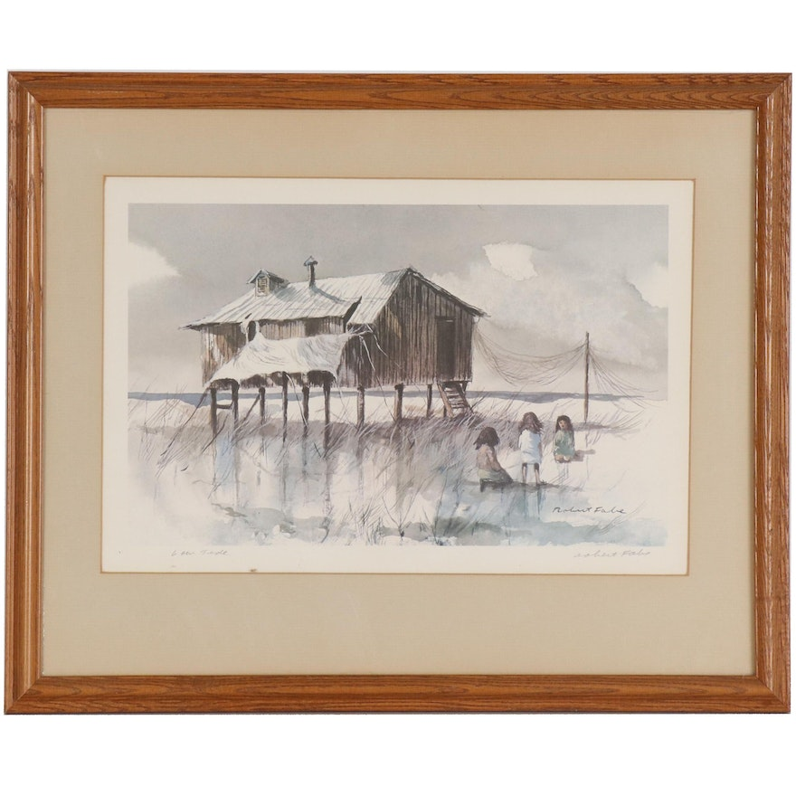 """Robert Fabe Offset Lithograph """"Low Tide"""""""