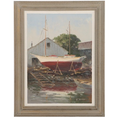 "Eric Stry Oil Painting ""Dry Dock"", Mid 20th Century"