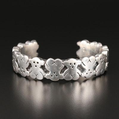 Sterling Silver Hollow Formed Teddy Bear Cuff Bracelet
