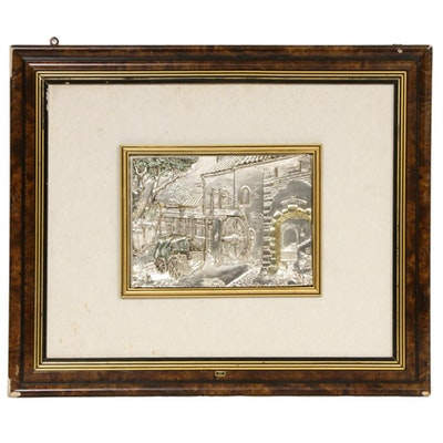 Italian Cast Metal Relief Landscape Wall Hanging, Mid-20th Century