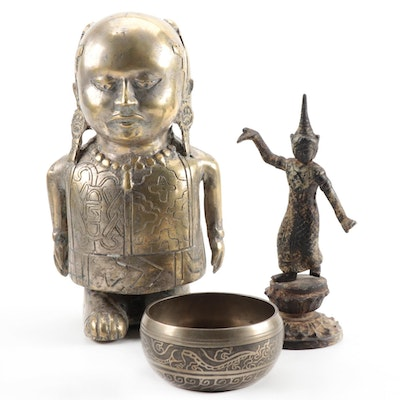 Thai Dancing Statuette and Southeast Asian Brass Figure with Buddha Bowl
