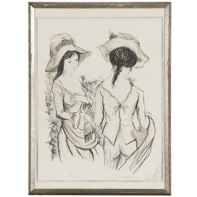 Henri Etinnen Lithograph of Two Women