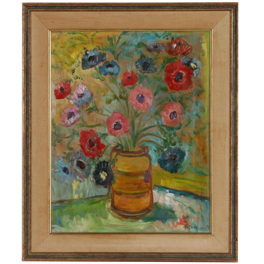 Floral Still Life Oil Painting, 1965