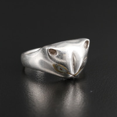 Sterling Silver Abalone Cat Ring