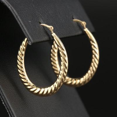 14K Yellow Gold Elongated Hoop Earrings