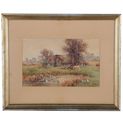 Watercolor Painting of Farmstead, Early to Mid 20th Century