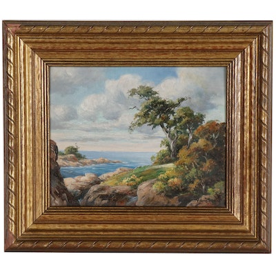 William Bradley Cliffside View Oil Painting