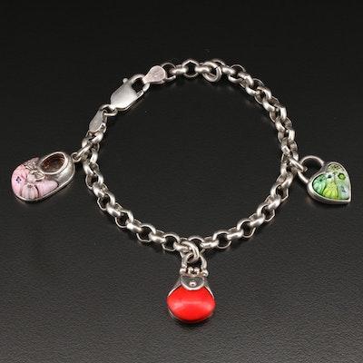 Vintage Sterling Silver Coral Charm Bracelet