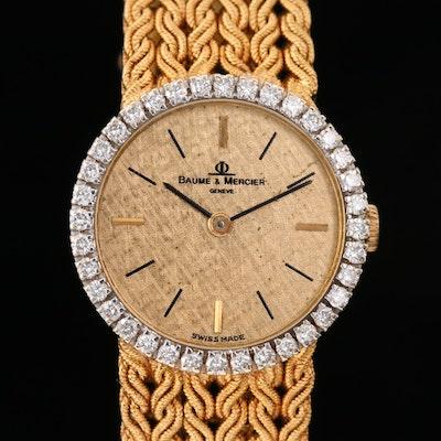 Vintage Baume & Mercier 18K Gold and Diamond Stem Wind Wristwatch
