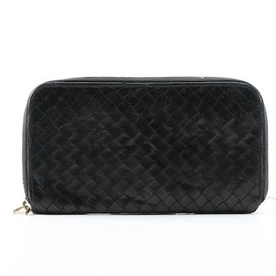 Bottega Veneta Black Intrecciato Black Leather Zip Wallet