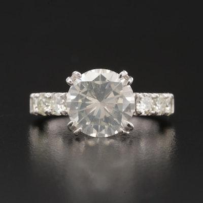 14K White Gold 4.04 CTW Diamond Ring with GIA Report