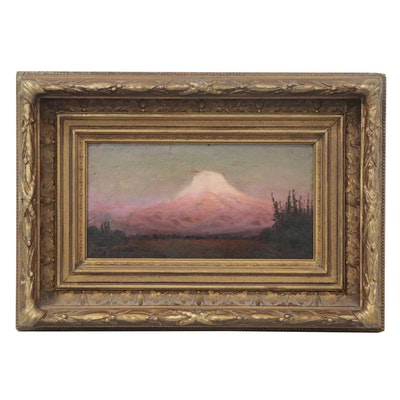 """James E. Stuart Tonalist Oil Painting """"Sunset Glow Mt. Tacoma"""", 1907"""