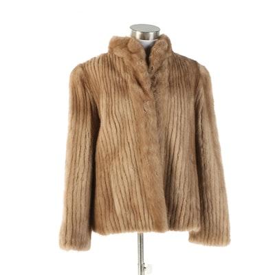 Light Brown Corded Mink Fur Jacket