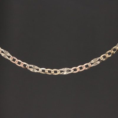14K Rose and White Gold Engraved Figaro Necklace