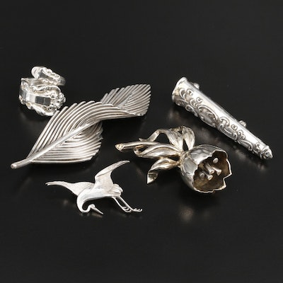 Sterling Brooches and Ring Featuring Jondell Brooch and Gorham Spoon Ring