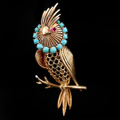 1960s 14K Yellow Gold Ruby and Turquoise Bird Brooch