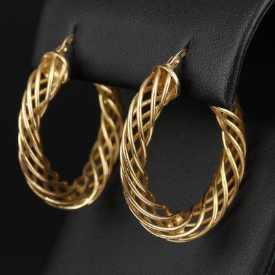 14K Yellow Gold Spiral Hoop Earrings