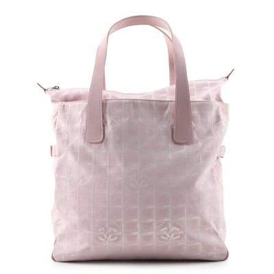 Chanel Pink CC Jacquard and Leather Travel Line Tote