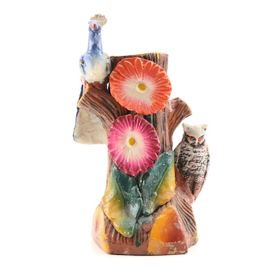 Carnival Chalkware Peacock and Owl Tree Stump Vase, Mid-Century