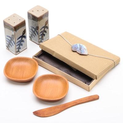 Mel Cornshucker Stoneware Salt and Pepper Shakers with Kauri Wood Tableware
