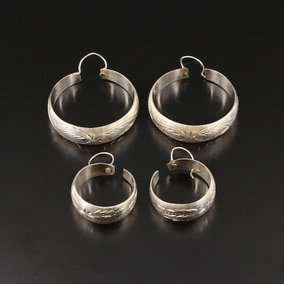Two Pairs of Sterling Silver Engraved Hoop Earrings