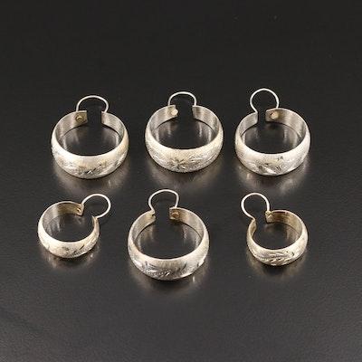 Sterling Silver Engraved Hoop Earrings Selection