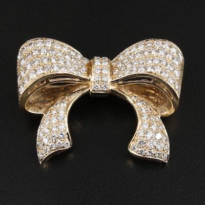14K Yellow Gold 3.90 CTW Diamond Bow Converter Brooch