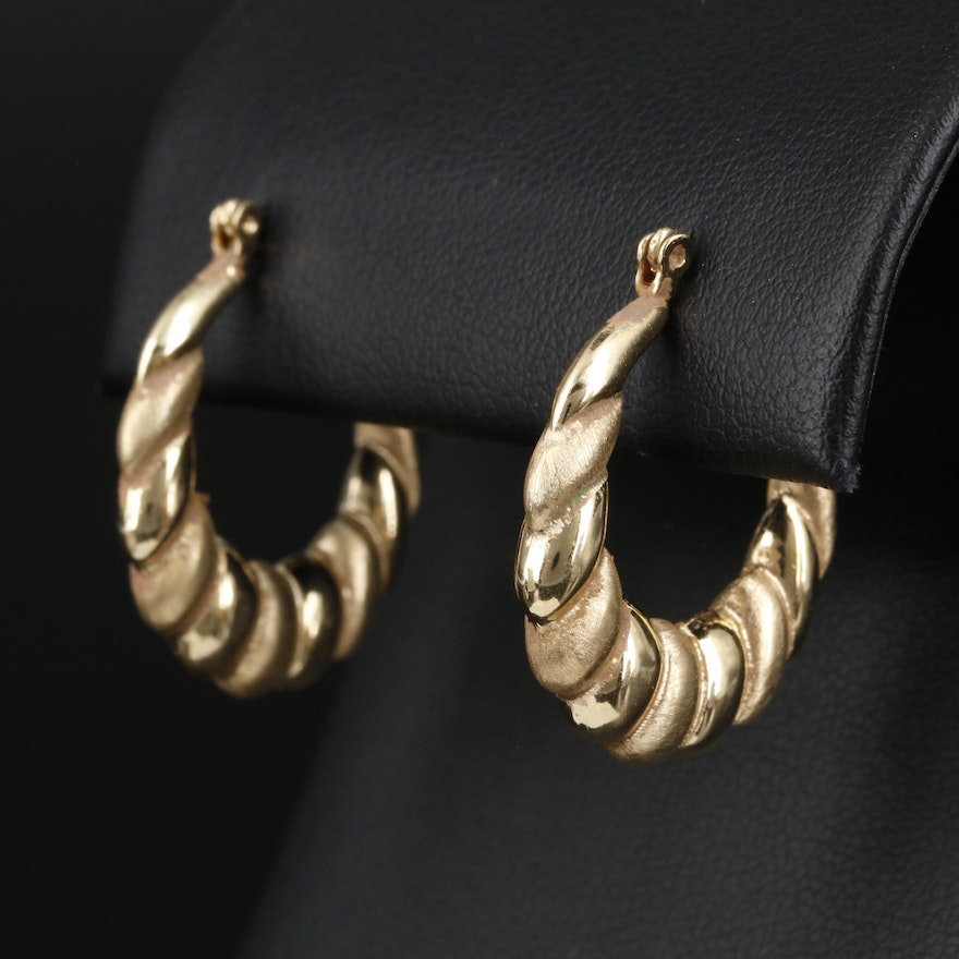 14K Yellow Gold Shrimp Hoop Earrings