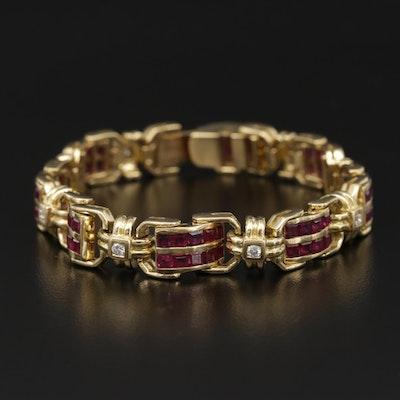 18K Yellow Gold Diamond and Ruby Panel Link Bracelet