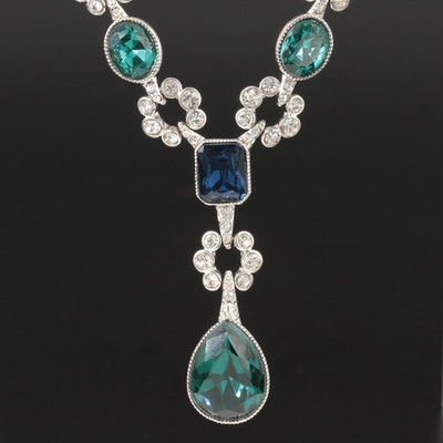 Carolee Bead Necklace Including Glass, Foilback and Pearl