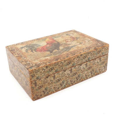 Rooster and Animal Themed Decoupaged Hinged Wooden Box