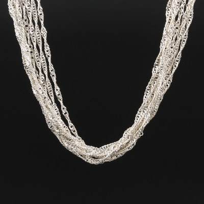 Sterling Silver Multi Eight Strand Necklace
