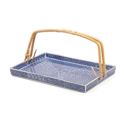Japanese Ceramic Serving Tray with Bamboo Handle