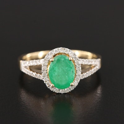 14K Yellow Gold Emerald and Diamond Split Shank Halo Ring