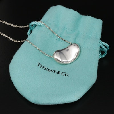 Elsa Peretti Sterling Silver Large Bean Pendant Necklace for Tiffany & Co.