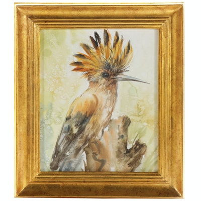 Hoopoe Bird Watercolor Painting