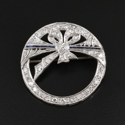 Art Deco Platinum and 14K 1.56 CTW Diamond and Sapphire Brooch