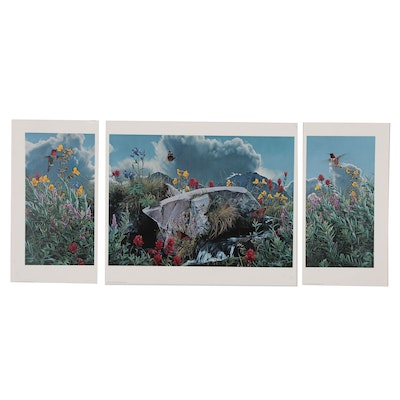 """Rod Frederick Offset Lithograph Triptych """"Summer's Song"""""""