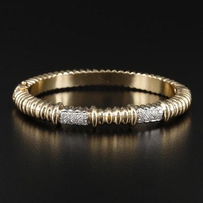 14K Diamond Hinged Bangle Bracelet