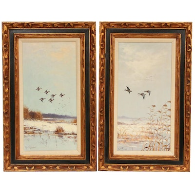 George Stevens Landscape with Flying Ducks Oil Paintings, Mid-20th Century