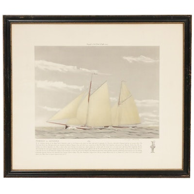 "America's Cup Lithograph After Franklyn Fairchild ""Puritan vs. Genista"""